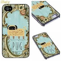 Pug In Mirror Classical Luxury Charm Customized Hard Plastic Phone Case Cover for Apple iPhone 4 4s 5 5s 5c 6 6s plus