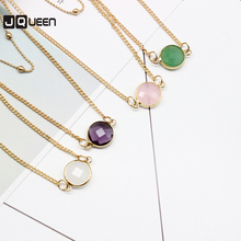2017 New Arrival Four Colors Crystal Pendant Necklace Accessories Trendy Jewelry Beauty Personality Double Link Chain(China)