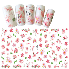 Hot Fashion 1 Sheet Light Color Flower Pattern Sticker Nail Art Decoration Cherry Blossoms Tips Nail DIY 3D Nail Decal BEF197