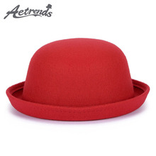 [AETRENDS] 2017 New Winter Cap Vintage Lady Fedoras Wool Felt Fedora Hats Z-5307()