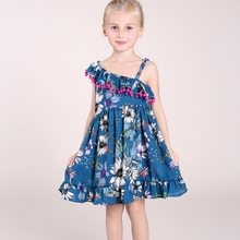 Kids Girls Dress Brand Summer Beach Style Floral Print Party Dresses For Girls Vintage Sleeveless Girl Clothing 3-10Yrs