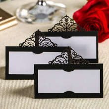 12pcs Laser Cut Crown Paper Place Name Seat Card Wedding Birthday Party Invitation Table Decoration Party Favor Souvenirs