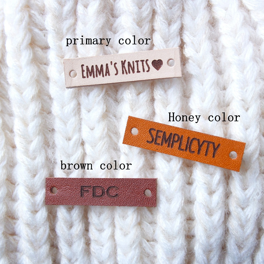 Leather Tags, personalized tags, knit labels, Custom Name,  Knitting Tags For Hats , Custom Design,Name Tags, Brand Tag (PB1506)
