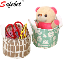 Small Cute Linen Fabric Sewing Kids Toy Storage Basket Folding Desktop Organizer Containers Animal Stripe Prints Round Square
