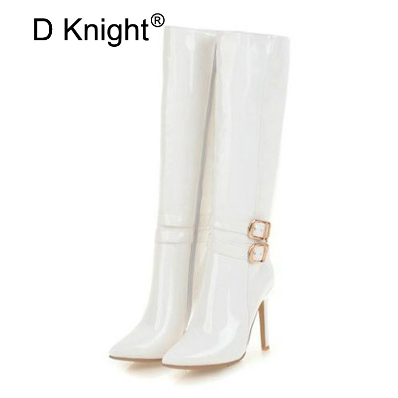 10CM Extreme High Heels Boots Fashion Pole Dancing Knee-High Boots Side Zip Ladies Knee Boots Plus Size 33-48 Woman Winter Shoes (3)