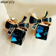 MissCyCy 2016  Chic Shimmer Gold Bow Cubic Crystal Earrings Gold-Tone GP  Rhinestone Stud Earrings For Women