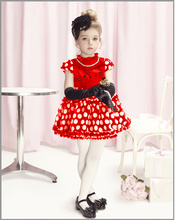 2013 NEW children dress girls  Princess dresses chiffon  bowknot  hello kitty dresse for summer red and pink 4pcs/lot BD053