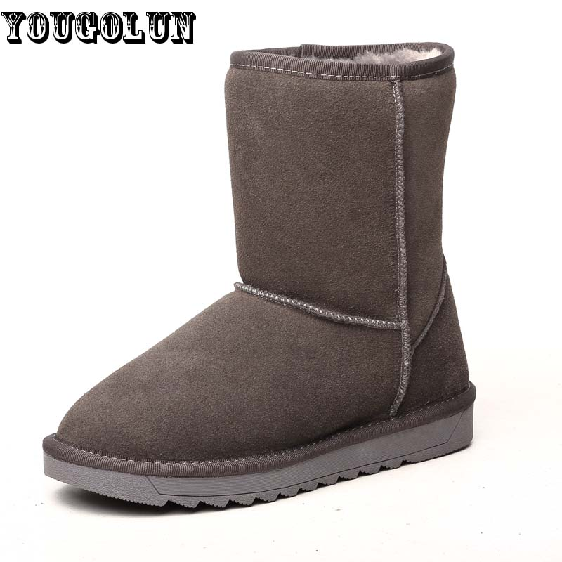 YOUGOLUN Winter Women Snow Boots Genuine Suede Leather Fashion Woman Ankle Boots Lady Round toe Black Red Gray Warm Flat Shoes<br><br>Aliexpress