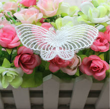 7.4X3CM  Delicate Nylon White Color Embroidery  Butterfly Flower Lace Textiles Accessories 063