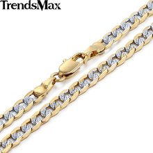 Trendsmax 4mm Flat Hammered Curb Silver Yellow Gold Filled Necklace Mens Chain Womens Jewelry Custom ANY Length GN64
