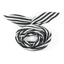 NEW White/Black Women Striped Print Fabric Coated Wire Hair Scarf HeadBand