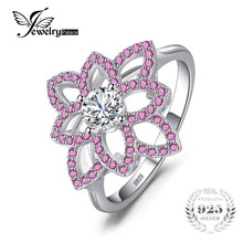 JewelryPalace Brand 0.77 ct Created Pink Sapphire & CZ Flower Ring 925 Sterling Silver Wedding Party Fine Jewelry For Women Gift(China)