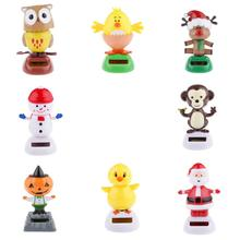 Quality Cute Solar Powered Shaking Owl Toy ABS Resin Owl Sownman Pumpkin on Stage Dancing Table Toy Creative Kid Children Gifts(China)