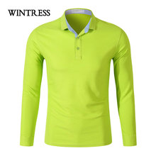WINTRESS Plus Size Men Polo Shirt Autumn Winter Smart Casual Top Clothes Long Sleeve Button Colorful Polo Can Custom Logo(China)