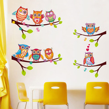 Colorful Owls Cartoon Wall Stickers Owls on The Tree Children Room Home Decor Wall Decals Wall Stickers for Kids Rooms Removable(China)
