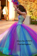 Custom Made Charming Colorful Rainbow Princess Gradient Quinceanera Dresses Sew Sequin Shiny Ball Gown Sexy 16 Dresses