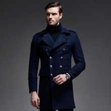 2017 Korean Mens Winter Wool Overcoats British Long Wool Coat For Men Fashion Mens Double Breasted Pea Coat Man Wool Trench Coat(China)
