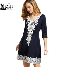 SheIn Summer Ladies Short Dresses Womens Elegant Navy V Neck Half Sleeve Crochet Applique Box Pleated A Line Dress