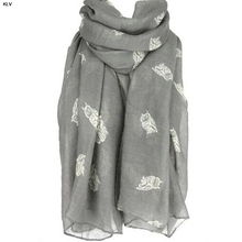 KLV Fashion Animal luxury brand woman scarf chiffon scarf wrap shawl scarves for woman owl scarf