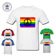 2017 Natural Cotton BDistressed Rainbow Flag Gay Pride Peace Logo Funny Cotton T Shirt for men(China)