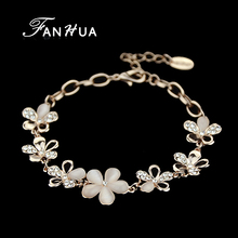 FANHUA  Rose Gold Color with Rhinestone Flower Chain & Link Bracelets Bijuteria or Women Wholesale