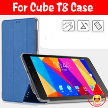 "New Arrival 8.0"" inch Case For CUBE T8 T8s T8Plus Tablet PC,PU Leather Case Cover Protective Shell Case Cover With 3 Gifts"