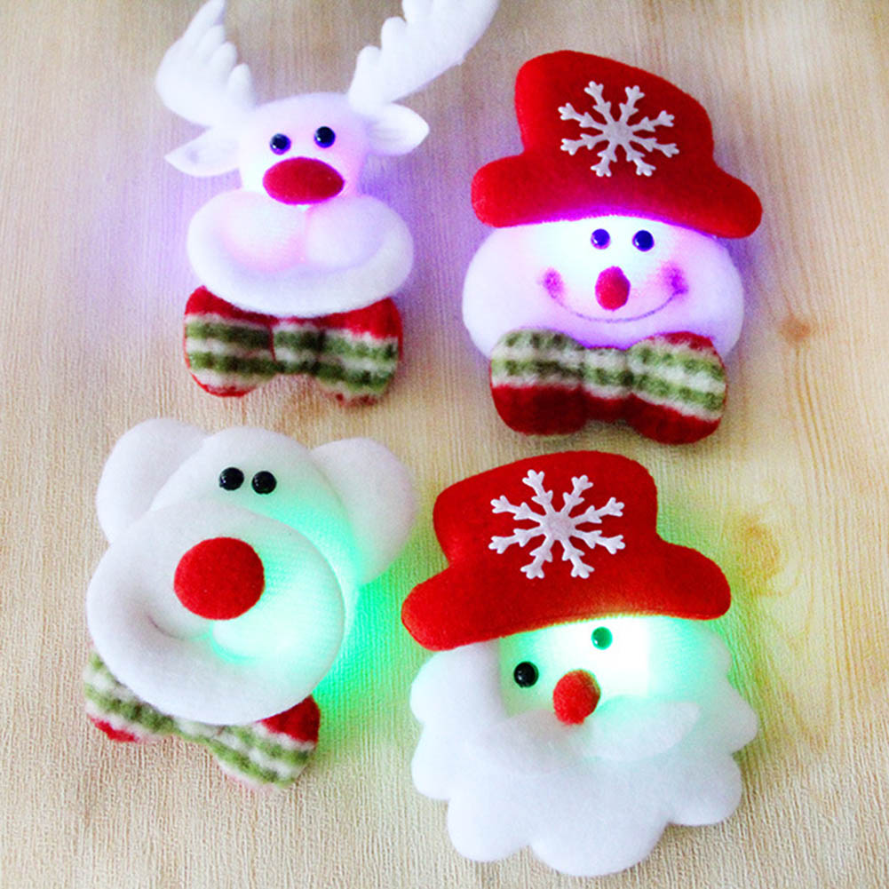 Hoomall Brooch Led Glowing Cartoon Santa Claus Snowman Deer Christmas Brooch Pin Cute Xmas Toy Flag Pin Art Pin Apparel Sewing & Fabric