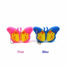 cartoon blue pink butterfly usb flash drive disk memory stick Pen drive personalizado computer gift 4gb 8gb 16gb 32gb pendrive