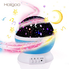 Holigoo Romantic Led Night Lamp With Music Rotating Starry Star Moon Sky Rotation Lighting Projection Rotatable Night Light