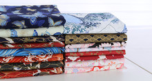 half meter handmade pure cotton fabric with butterfly sakura red-crowned crane wave print, Japanese soft breeze cloth CR-977(China)