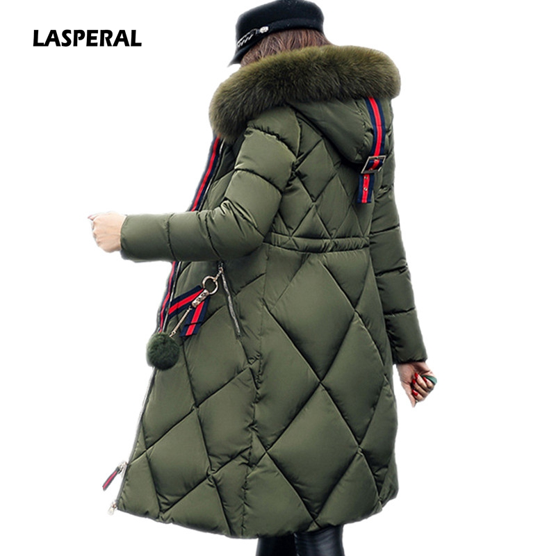 LASPERAL 2017 Big Fur Winter Coat Thicken Parka Women Stitching Slim Long Winter Coat Down Cotton Ladies Down Parka Down JacketsÎäåæäà è àêñåññóàðû<br><br>