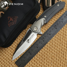 VENOM ATTACKER KEVIN JOHN Folding Ball bearing Flipper Knife M390 Titanium carbon fiber camp hunt survival outdoor knives tool