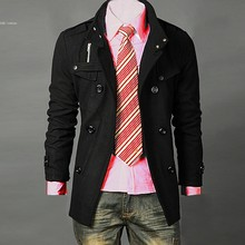 dropshopping 2012 Men's Jacket Hot Stylish Woolen Jacket Double Pea Trench Coat Gray 22