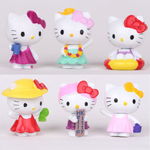 6pcs/Lot 4cm Cute Kawaii Hello Kitty Pvc Action Figures Toys Children Classic Dolls Kids Gift(China)