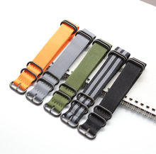 Nato Solid Black Buckle Stripe Orange ZULU 20mm 22mm 24mm Watchbands Men Women Watches Strap Wristwatch Band Buckle Belts