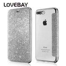 Lovebay Phone Case For iPhone 7 6 6s Plus Bling PU+Soft TPU Glitter Powder Flip Back Cover Card Slot Protective Coque Cases