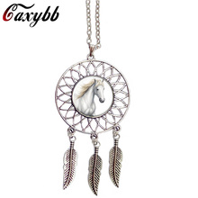 Caxybb New Style Dream Catcher Jewelry Wings Shaped Pendant Horse Necklace silver Sweater Chain animal Pendant necklace women(China)