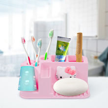 Cartoon Hello Kitty Toothbrush Holder Practical Pink Toothbrush Holder Storage Rack Bathroom Accessories A(China)