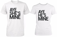 Buy Aye Mine Matching Couple Shirts Boyfriend Girlfriend White Cotton Graphic Tees T-shirt 100% Cotton Short Sleeve Euro Size for $16.00 in AliExpress store