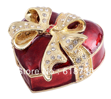 TBP0221 Metal alloy Red Heart w Bow jewelry box Heart w Crystal gift boxes ornaments home accessories Valentine Christmas gift(China)