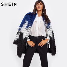 SHEIN Color Block Faux Fur Open Front Coat Women Elegant Fur Coats Multicolor Collarless Long Sleeve Autumn Winter Coat(China)