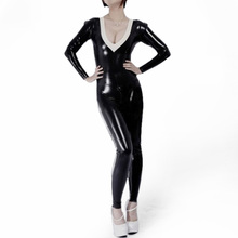 Buy 100% Nature Latex Catsuit 0.6MM ThicknessBlack Latex Rubber Zentai White Trim Back Zip Crotch