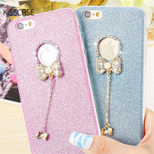 KISSCASE Lovely 3D Glitter Diamond Rhinestone Butterfly Silicone Case For iPhone 6 6s 6 Plus 6s Plus Case TPU Bling Back Cover