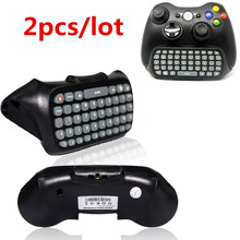 2pcs Black Game Keyboard Keypad ChatPad Wireless Controller Text Messenger W/ Backlight For XBOX 360 Controller Gamepad Xbox360