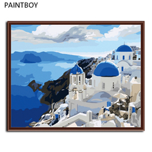HOT! Frameless Wall Art Picture Painting By Numbers DIY Canvas Oil Painting Home Decor Of Blue Mediterranean G005(China)