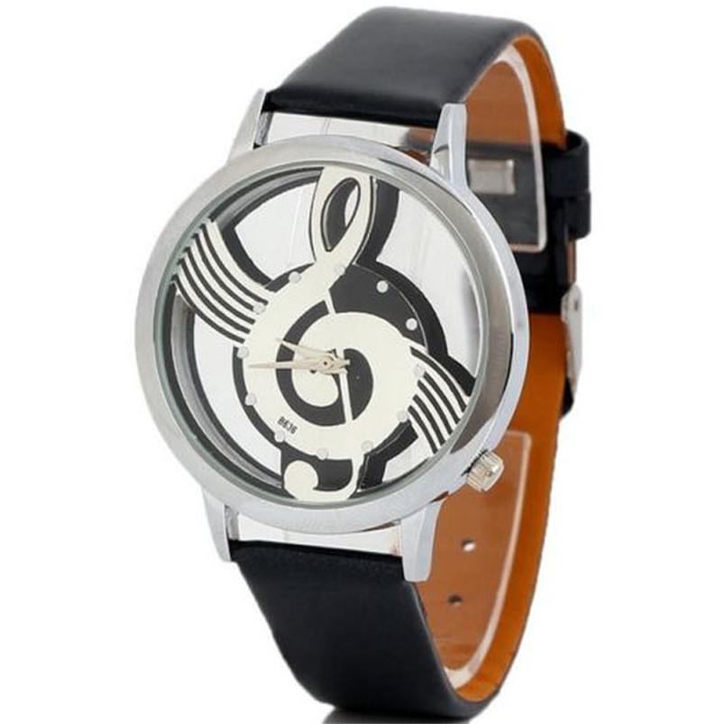 Hot Selling Good Deal Women's Men's Musical Note Notation Hollow Faux Leather Strap Quartz Wrist Watch #2AP18B (7)