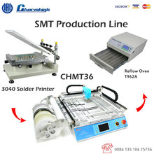 Small Production line: 3040 Solder Printer + CHMT36 Pick and Place Machine + Reflow Oven T962A Discount!