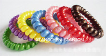100pcs Girls Candy Colors 5CM Elastic Telephone Wire Cord Line Head Ties Hair Band Rope Gum Ponytail Holders Bracelet