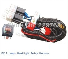 High Powerful 12V 2 Lamps H4 9003 Headlight Ceramic Fused Relay , car Wiring Harness Headlight Relay Kits,auto Headlight Booster(China)