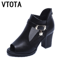 VTOTA Woman Summer Boots Fashion Ankle Boots For Woman Leather High Heels Shoes High Heel Open Toes Women Boots bota feminina X